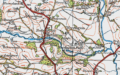 Old map of Werrington in 1919