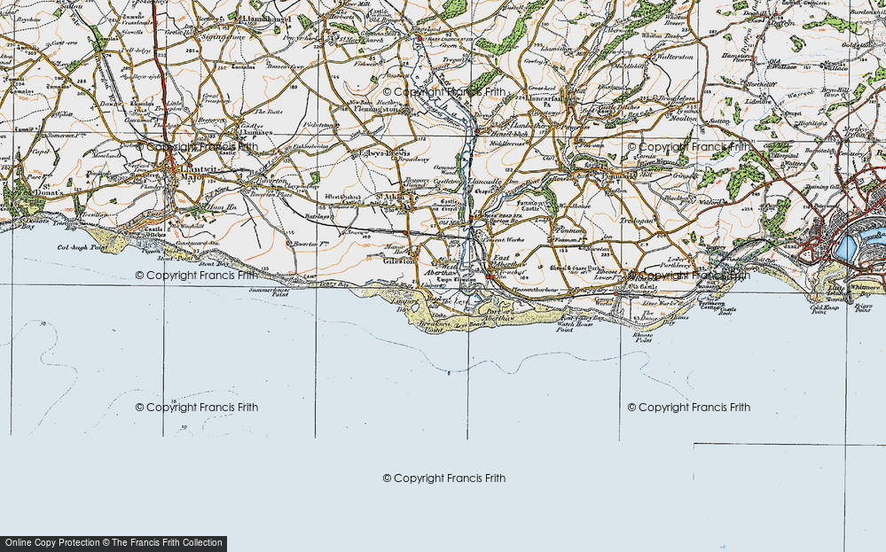 Old Map of Historic Map covering Leys Beach in 1922