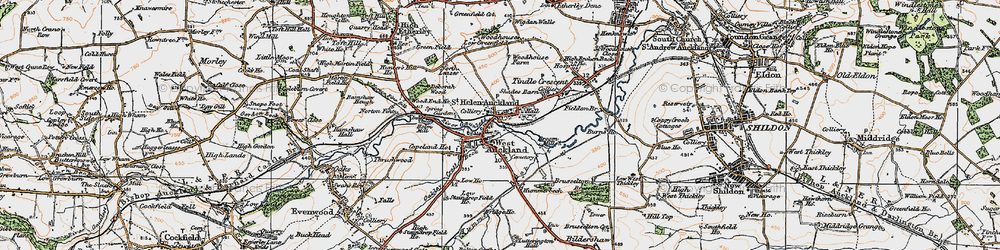 Old map of West Auckland in 1925