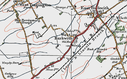 Old map of West Torrington Grange in 1923