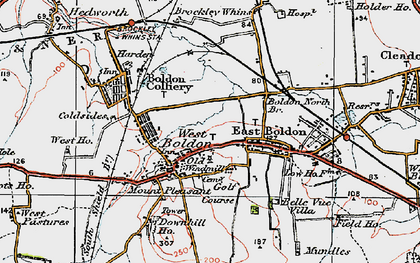 Old map of West Boldon in 1925