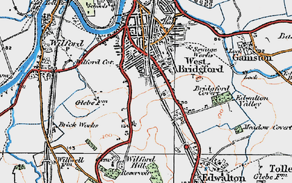 Old map of West Bridgford in 1921