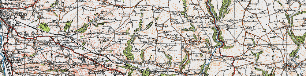 Old map of Accott in 1919