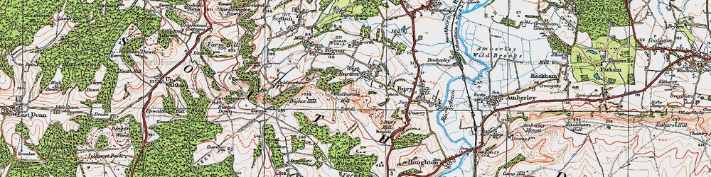 Old map of Westburton Hill in 1920