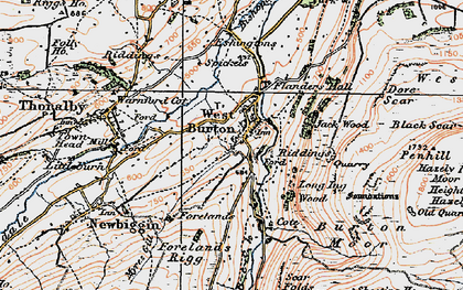 Old map of West Burton in 1925