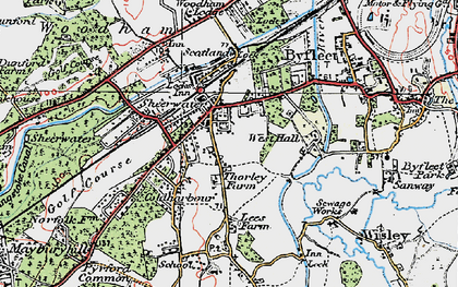 Old map of West Byfleet in 1920