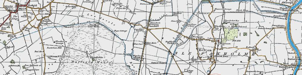 Old map of Lindholme Grange in 1923