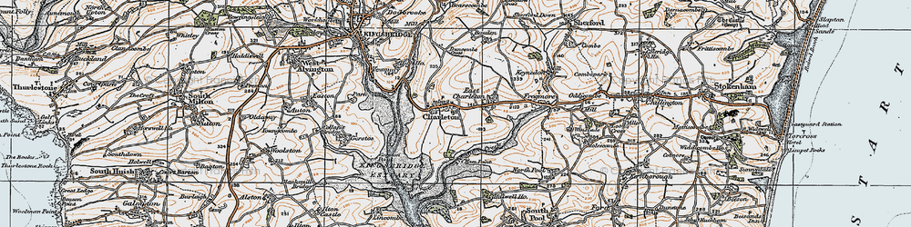 Old map of West Charleton in 1919