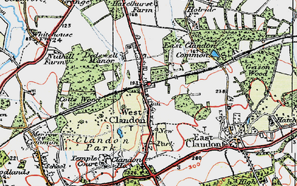 Old map of West Clandon in 1920