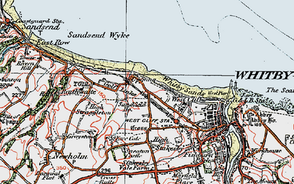Old map of Whitby Sands in 1925