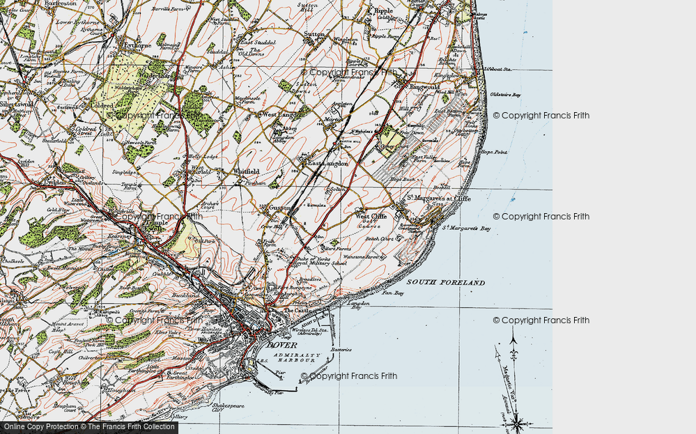 Old Map of Historic Map covering Langdon Bay in 1920