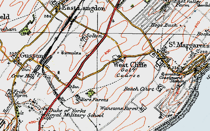 Old map of Langdon Bay in 1920
