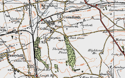 Old map of West Cornforth in 1925