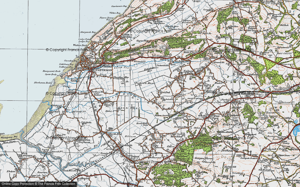Old Map of Historic Map covering Tickenham Moor in 1919