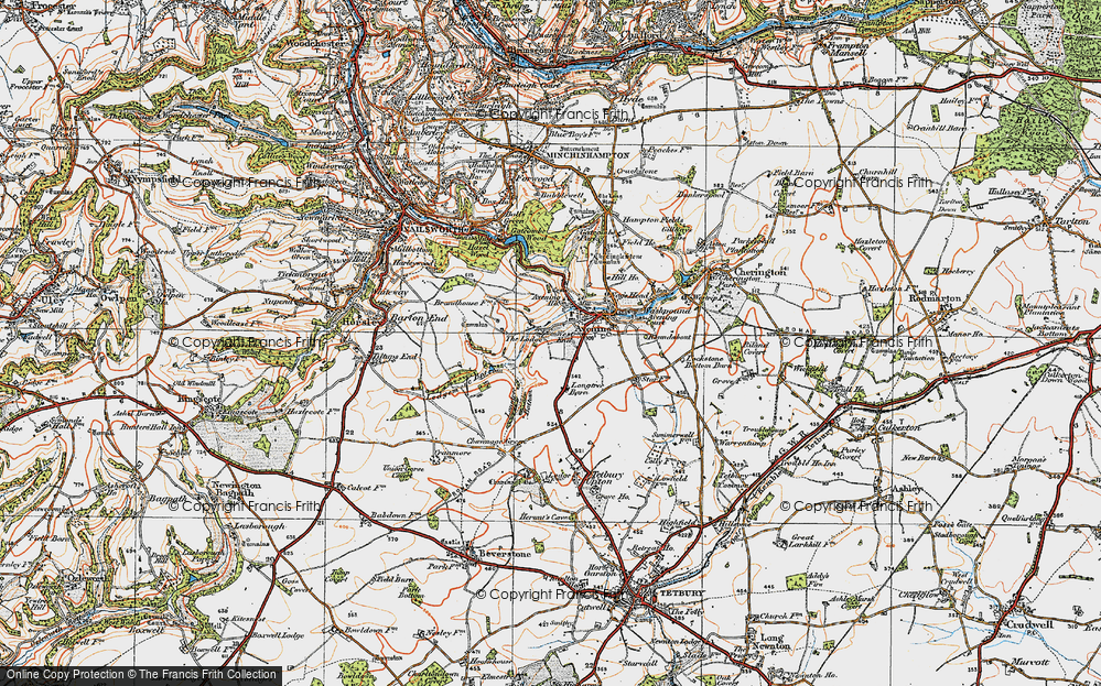 Old Map of Historic Map covering Avening Park in 1919