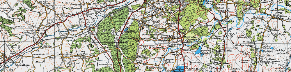 Old map of Woodhill in 1919