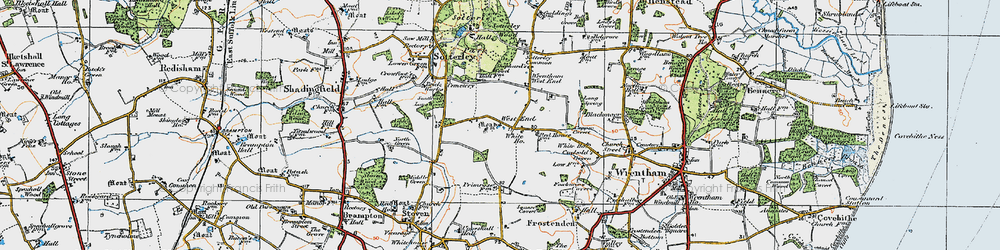 Old map of Wrentham West End in 1921
