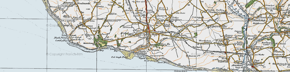 Old map of Afon Col'-huw in 1922
