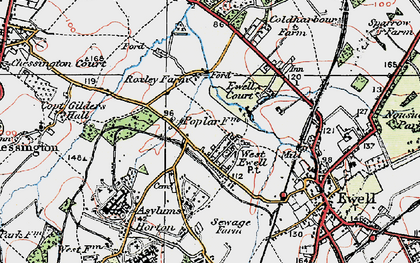 Old map of West Ewell in 1920