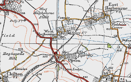 Old map of West Hagbourne in 1919