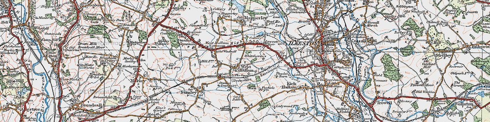 Old map of Whitefurrows in 1921