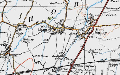 Old map of West Hanney in 1919