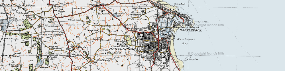 Old map of West Hartlepool in 1925