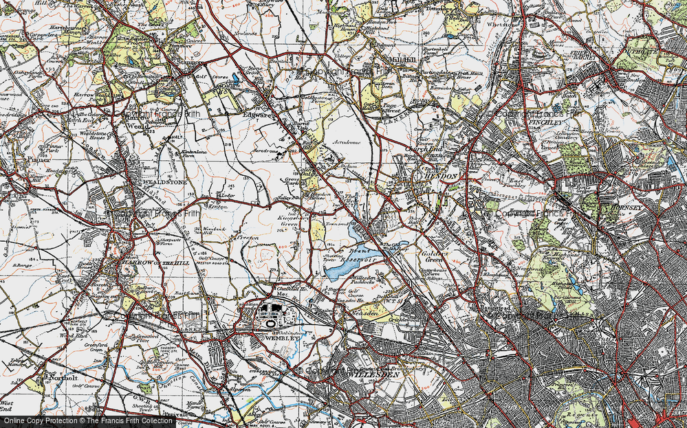 Old Map of West Hendon, 1920 in 1920