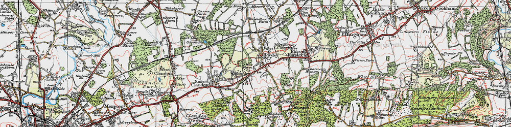Old map of Woodcote Lodge in 1920