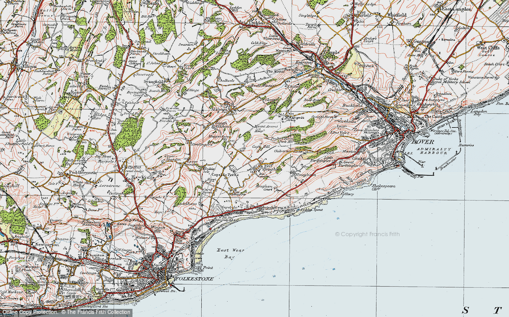 Old Map of West Hougham, 1920 in 1920
