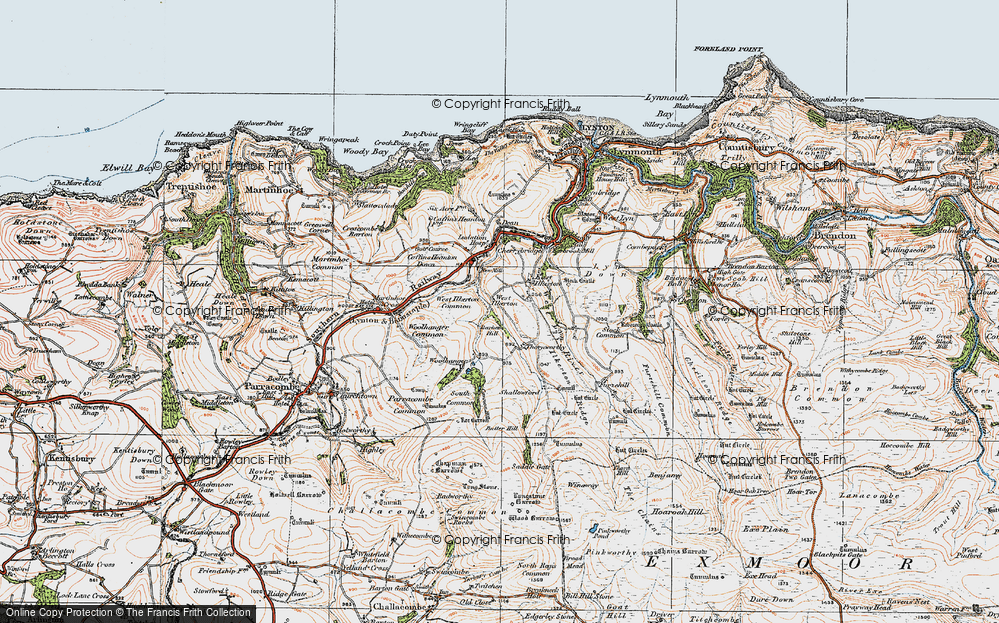 Old Map of Historic Map covering Barham Hill in 1919