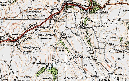 Old map of Barham Hill in 1919