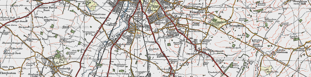 Old map of West Knighton in 1921