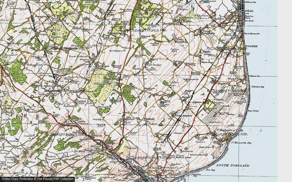 Old Map of West Langdon, 1920 in 1920