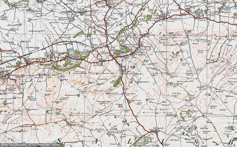Old Map of Historic Map covering White Hill in 1919