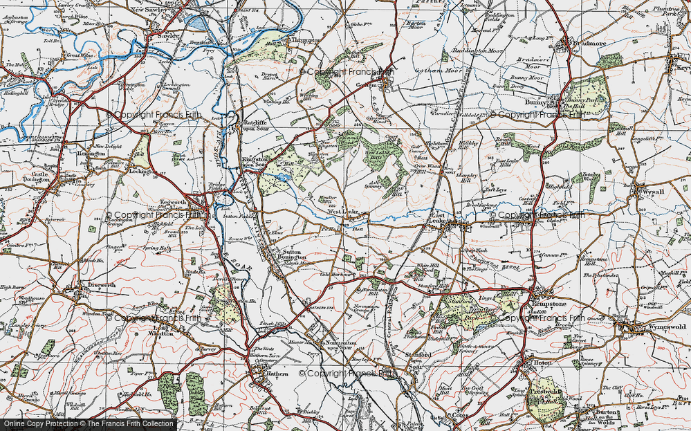 Old Map of Historic Map covering Ash Spinney in 1921