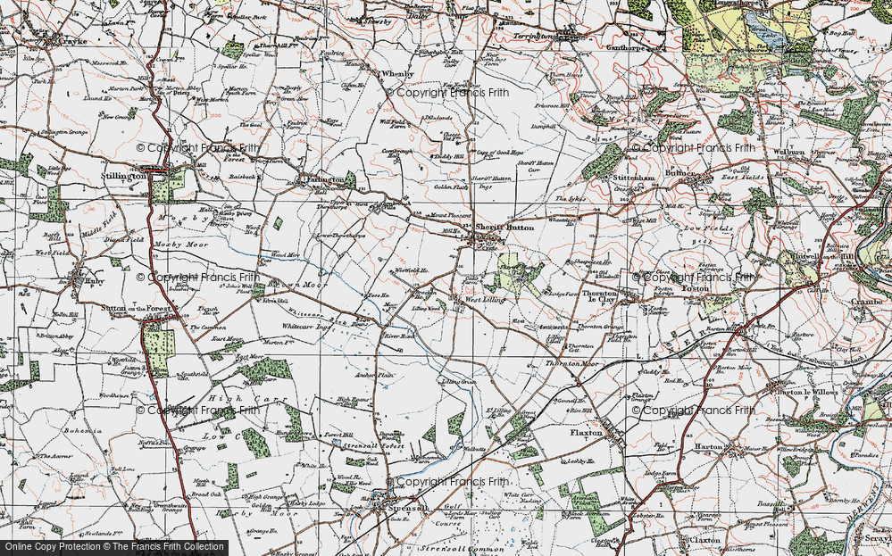Old Map of Historic Map covering Lilling Wood in 1924