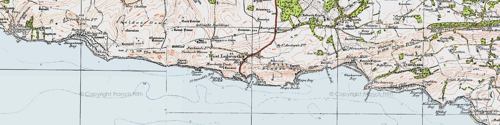 Old map of West Lulworth in 1919