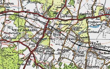 Old map of West Malling in 1920