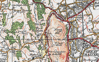 Old map of Worcestershire Beacon in 1920