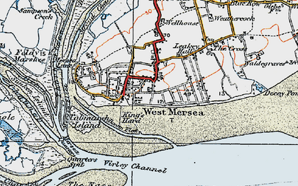 Old map of West Mersea in 1921