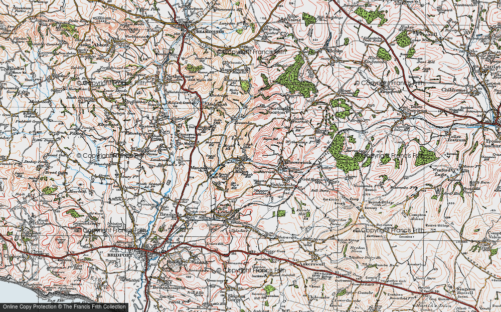 Old Map of Historic Map covering Leigh Gate in 1919