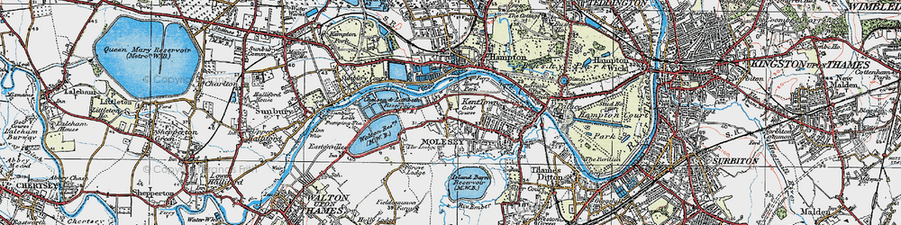 Old map of West Molesey in 1920