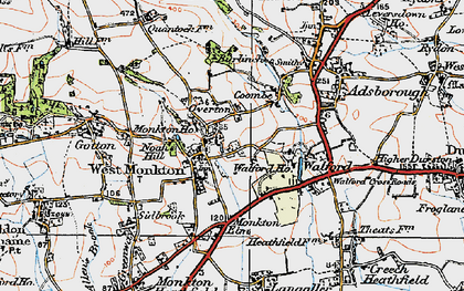 Old map of West Monkton in 1919