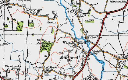 Old map of West Mudford in 1919