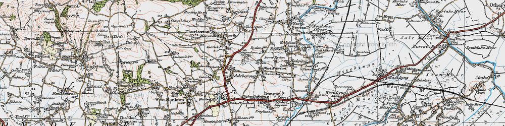 Old map of West Newton in 1919