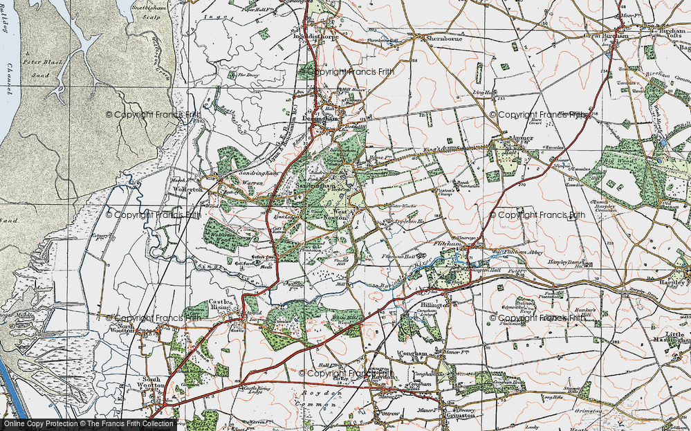 Old Map of Historic Map covering Woodcock Wood in 1921