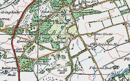 Old map of Woodcock Wood in 1921