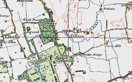 Old map of West Newton Belts in 1924