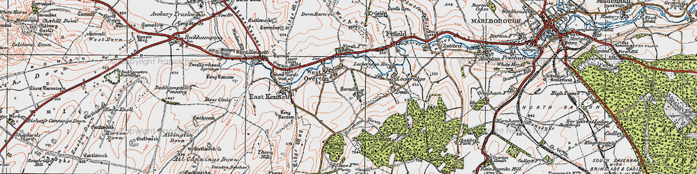 Old map of West Overton in 1919